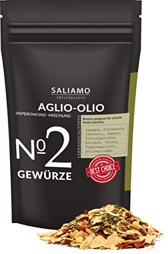 Aglio Olio e Peperoncino Gewürzmischung, grob scharf, Knoblauch, Spaghetti aglio e olio, Spaghettini mit Knoblauch, Öl und Peperoncino | Saliamo (100g)