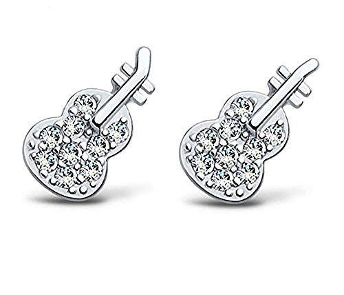 Baobei Women's Child Violin Studs Earrings 925 Sterling Silver Blue eye Cubic Zirconia Music Violin Stud Earrings Elegant Fine Jewellery For Women Girls With Jewellery Box