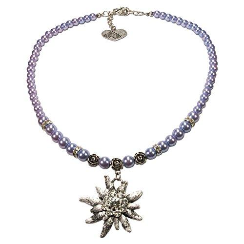Alpenflüstern Perlen-Trachtenkette Fiona mit Strass-Edelweiß groß - Damen-Trachtenschmuck Dirndlkette hell-blau DHK054
