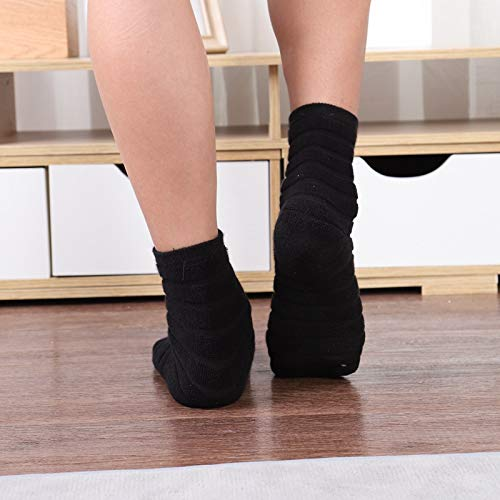 Quanyou 2 pares de calcetines de algodón para deportes creativos gruesos anti-rizo (negro)