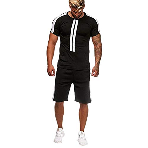 Realdo Big Mens Tracksuit Set,Men's 2 Pcs Casual Solid Stripe Shirt Shorts Sports Thin Athletic Wear (X-Large, Black)
