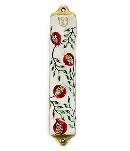 Mezuzah Case - Mezuzah Cover, Pomegranate Tree Design Crafted in Pewter, Jerusalem Judaica, Door Mezuza Case 4