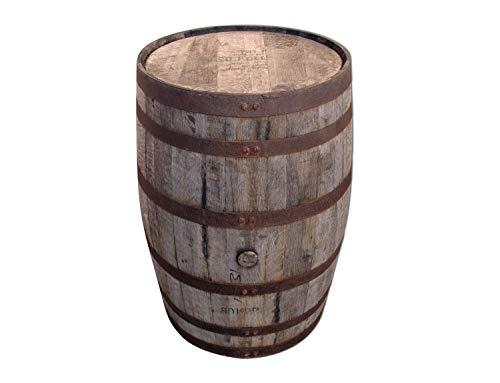 Temesso Barril de Madera Usado, auténtico Barril de Whisky para decoración - Barril Mesa para Bar - 190l (con Refuerzo de los Anillos del Barril)