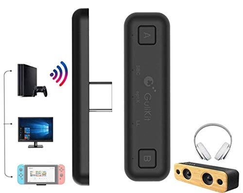 Ronnie Air Adaptateur Bluetooth pour Nintendo Switch/Switch Lite/ PS4/ PC, USB Type-C Transmetteur Audio sans Fil avec aptX Faible Latence (Noir)