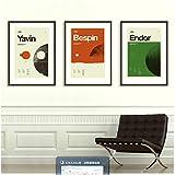 Póster de película inspirado en planetas Impresión de arte Imágenes gráficas minimalistas Boutique moderna de mediados de siglo Vintage Retro Oficina Decoración para el hogar-50x70x3Pcscm Sin marco