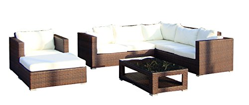 baidani 10c00020.00002 Ensemble de Meubles de Jardin Design Sunset, Canapé d'angle 1 Fauteuil, 1 Tabouret 1 Table Basse avec Plateau en Verre Marron