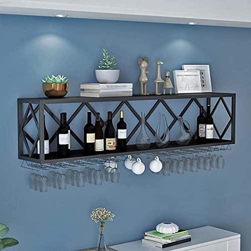 Sywlwxkq Estante para vinos Unidad de Bar Estantes flotantes Estante para Copas de Vino invertido montado en la Pared Porta Botellas de Hierro Multifuncional Estante para cubiletes Colgante