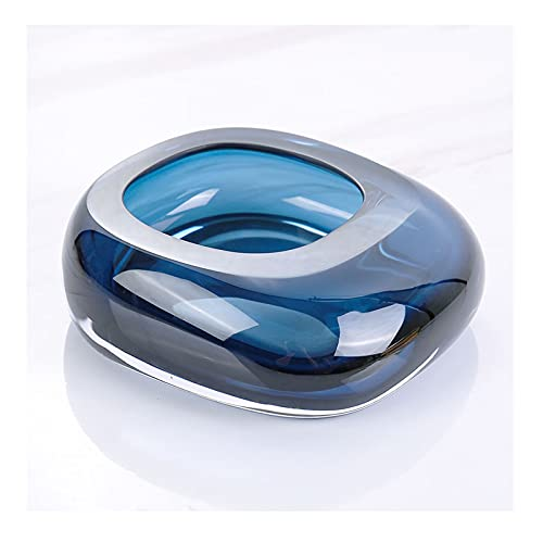 OMING cenicero Cenicero de Cristal Creativo Cenicero Personalidad de la Moda Luz de la casa Luz de Lujo Simple Ashtray Sala de Estar Decoración Cenicero de Metal Retro (Color : A, Size : Small)