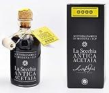 La Secchia - Vinagre Balsámico de Módena I.G.P. 'Cuatro Estrellas' Envejecido en 16 Barricas de Enebro - Densidad Media - Botella 250 ml con Tapón Dosificador de Corcho.