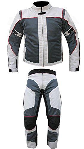 AZ Motorradanzug für Herren/Damen, 2-tlg, CE Armour Cordura Textil,100% wasserdicht, erhältlich in allen Größen Gr. Large, grau