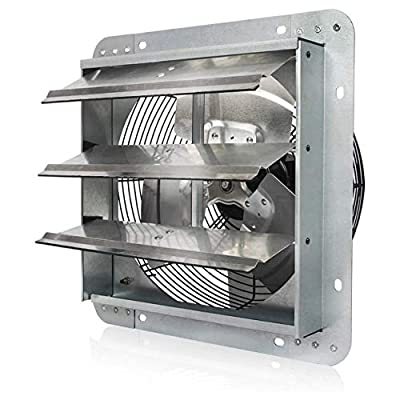Vie Air 12 Inch Exhaust Ventilation Fan with Shutters, Silver