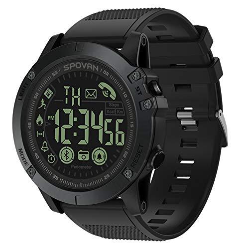 SPOVAN Reloj Inteligente Espera Larga Impermeable IP68 Paso Contador Deportes Bluetooth,Black
