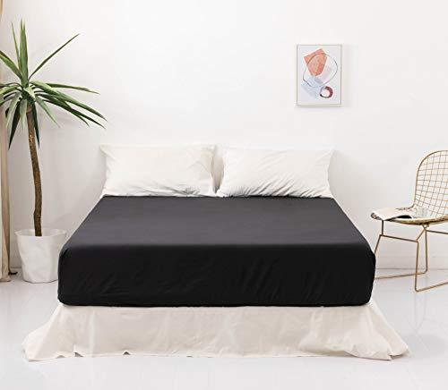 MOHAP Spannbettlaken Schwarz, 100% Weiche Mikrofaser, 180 x 200 x 30 cm, Hohe Qualität Spannbetttuch 120g/m²