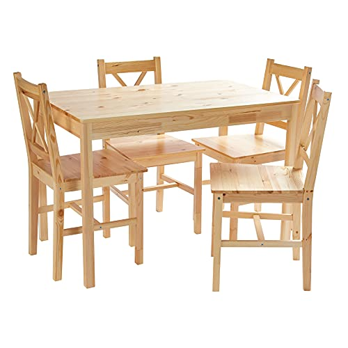 Home Treats Pine Dining Table and 4 Chairs Set | Dining Table Kitchen Set | Kitchen Table and Chairs Set 4 | Pine Table and Chairs Set 4 | Dining Table and Chairs Set 4 | Dining Room Sets