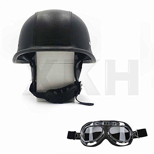 XKH- DOT German Black Leather Motorcycle Half Face Helmet Biker Pilot Goggles Size L [B07FN66MG3]