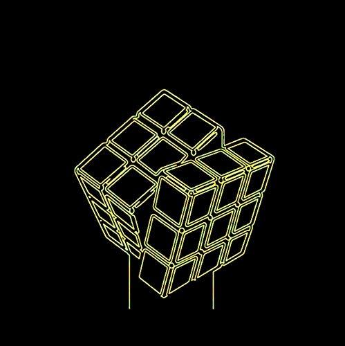 Innovador 3D Led Visual Cube Rubik Modeling Night Lights 7 colores que cambian USB Child Touch Button Lámpara de mesa Regalos creativos
