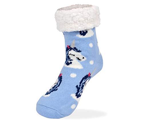 Alsino Chaussettes Antidérapantes Douces et Chaudes Bleu avec Licorne Taille Unique pour Femme 37-42 Hiver Chausson Pantoufle Norvégienne pour Noel