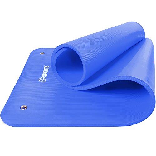ScSPORTS® Gymnastikmatte dick & rutschfest, Yoga-Matte mit Ösen & Schultergurt, 185 cm x 80 cm x 1,5 cm, universeller Einsatz im Fitnessstudio oder zu Hause (blau)