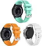 Simpleas Uhrenarmband kompatibel mit Galaxy Watch 46mm / Watch 3 45mm / Gear Live, Premium Weiches Silikon Verstellbarer Ersatzgurt (22mm, 3PCS C)