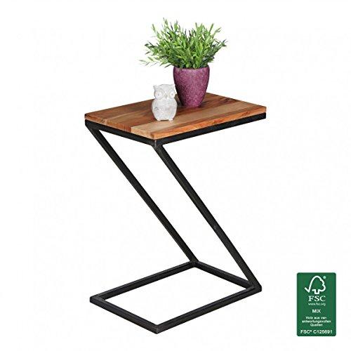 Tableau Akola Z-Forme en Bois Massif Palissandre/métal 45x62x32cm   Design Pays Table Basse de Style   Add-on Table carrée de Plateau de Table