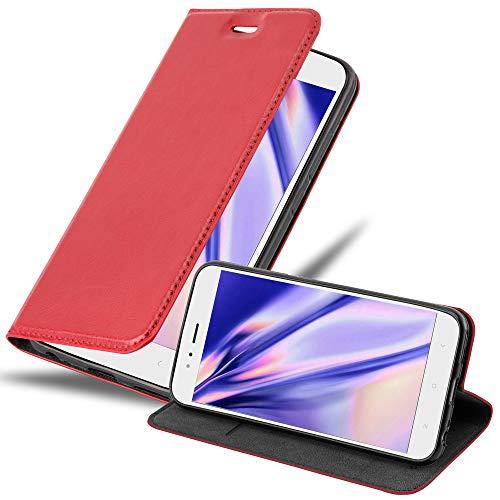 Cadorabo Funda Libro para Xiaomi Mi A1 / Mi 5X en Rojo Manzana - Cubierta Proteccíon con Cierre Magnético, Tarjetero y Función de Suporte - Etui Case Cover Carcasa