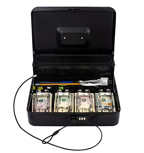 Cash Box by OSAFE – Money Box with Lock & Security Cable – Cash Safe Box with New Lid Coin Tray, 5 Compartments, 4 Spring Loaded – Large 3.5H x 9.5W x 11.8L Inch Metal Money Box with Combination Lock