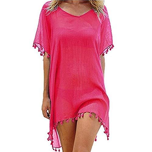 ECOMBOS Damen Strandkleid - Bikini Cover Up Strandponcho Sommerkleid Sommer Bademode Longshirt Tunika Strand Pareo (Rose Red)