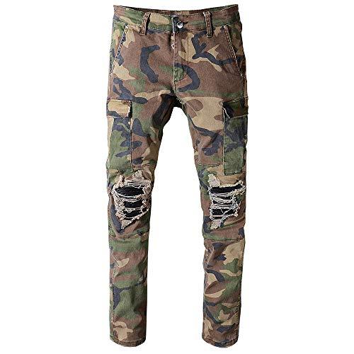 Jeans Pantalon Herren Camouflage Bedruckte Patchwork Militär Biker Jeans Für Slim Fit Gerade Armee Grün Taschen Cargo Denim Hosen-Multi_36