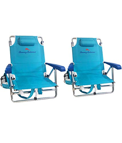 Tommy Bahama Set of 2 Backpack Beach Chairs with Cooler, Storage Pouch and Towel Bar