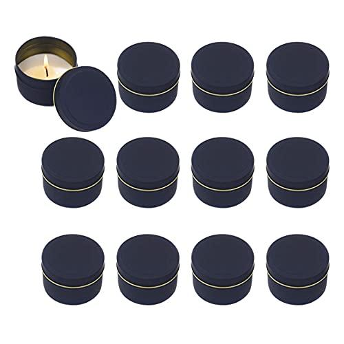 Wenyun 12 tarros de cristal para velas, redondos, vacíos, con tapa para hacer velas, para almacenamiento de objetos pequeños, cosméticos (negro)