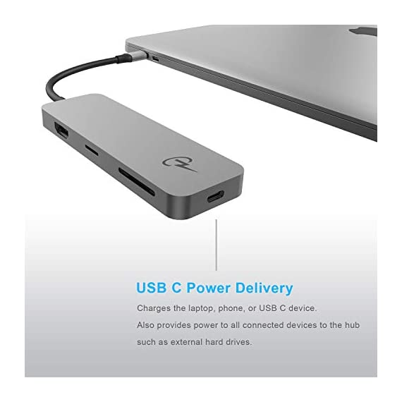 "CharJenPro USB C Hub for MacBook Pro (M1) 16"", 15"", 13"", 2021, 2020, 19,18, MacBook Air 2020, 2019, 2018, USB C Power, HDMI 4K, 3 USB 3.0, microSD, SD Card. 7 Yes it does work for the MacBook Pro 16"" 2019, 15.6"" 2019, 2018, 2017, 2016. This is for the Space Gray body with WHITE CABLE (not black cable). Ports Galore: CharJenPro USB C dongle comes with 3 USB 3.0, 4K HDMI video output, SD/TF card reader slots, and power delivery port, for all the Type-C laptops. Fast data transfer USB C dock: transfer large files, videos and other data in seconds. Especially designed a USB 2. 0 port for perfect connection to wireless devices like wireless mouse. Three USB 3.0 Ports, one SD and one microSD card reader with up to 5Gbps speed. High resolution USB C to HDMI Adapter: duplicate or extend your screen for multitasking, viewing spreadsheet data, editing documents, giving presentations, watching movies and playing video games. Supports 4K resolution video at 30Hz and 1080P at 60Hz."