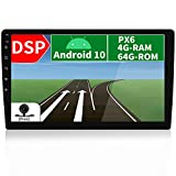 JOYX PX6 Android 10 Autoradio Estereo -【Bulit in DSP】- 【4G+64G】- Libre Cámara Canbus - 10.1 Pulgada - GPS 1 DIN - Apoyo HDMI Volante Bluetooth5.0 WLAN 4K-Video Dab 4G CarPlay Android Auto AHD-Cámara