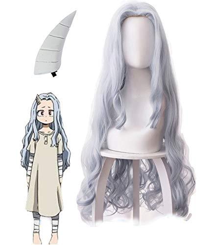 JIAJIAHONG Eri Wig, Anime My Hero Academia Eri Cosplay Long Curly Blue Gray Hair Women Halloween for Girls