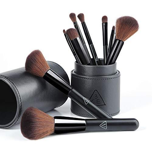 Pinceaux de Maquillage 10 Corée Fibres Fines Cheveux Cadeau d'anniversaire Pinceau Poudre Profession Femme Débutant Noir