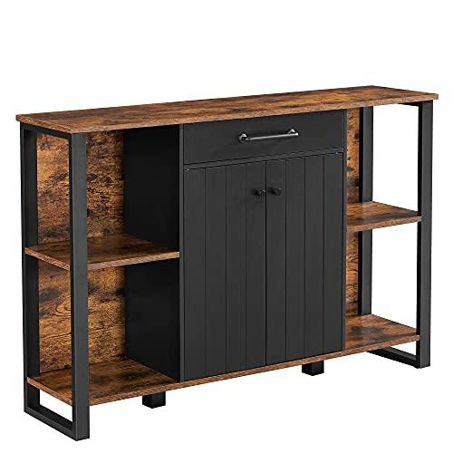 VASAGLE Sideboard, Küchenschrank mit Schublade, Beistellschrank mit Türen, Mehrzweckschrank, Metallgestell, Schrank, für Wohnzimmer, Esszimmer, Flur, vintagebraun-schwarz LSC103B01