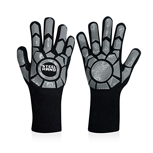 Steel Hand Heat Resistant Gloves - Premium Heat Resistant Gloves, Pizza Oven Gloves, Grill Gloves, Fire Gloves, BBQ Gloves for Barbecue, Grilling, Cooking, Baking, Heat Proof