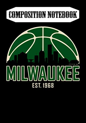 Composition Notebook: Milwaukee Basketball Skyline Vintage Wisconsin Retro Gift, Journal 6 x 9, 100 Page Blank Lined Paperback Journal/Notebook