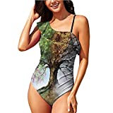 Hitecera Digitalof Four Season Tree,Summer Swimsuit One Piece Swimsuit RuffledUp XL