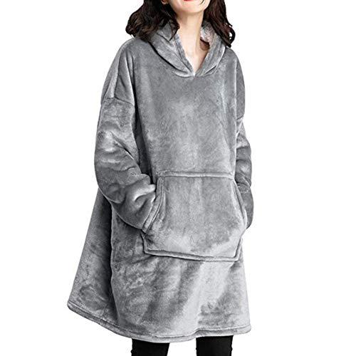 Kaemma Polaire à Capuche Vêtements Doux et Chauds Veste Coupe-Vent extérieure pour Homme Paresseux Pull à Capuche de Couleur Unie à Manches Longues (Gris)