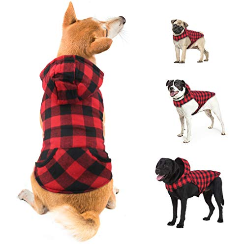 depet Dog Coat for Medium Dogs Winter, Red Plaid Shirt Dog Warm Jacket, Plaid Dog Hoodie with Hat, Pet Clothes Sweaters for Small Medium Large Dogs, Red, L