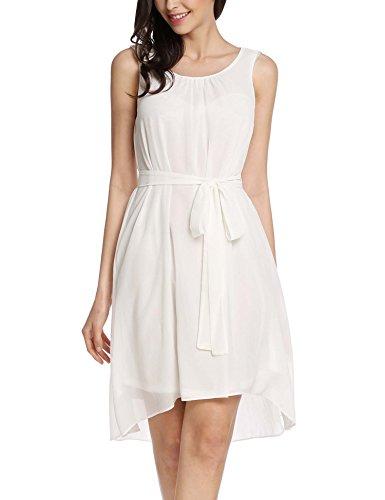 Meaneor dames mouwloos elegante chiffon jurk zomerjurk party feestelijke casual jurk knielange ronde hals asymmetrisch met band zwart wit blauw maat S-XXL