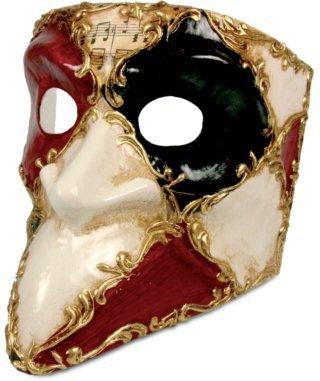 Karneval Venezianische Maske - Bauta scacchi colore bianco musica