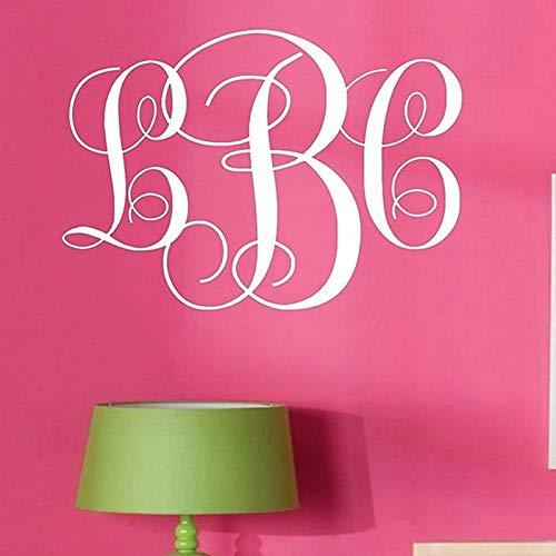 BLOUR Monogramm Initialen Vinyl Wandtattoo Schriftzug Kunst Wörter Personalisierte Grafiken, Monogramm Personalisierter Name Wandtattoo Aufkleber, c2055