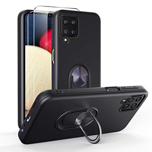 Ikziwreo - Funda para Samsung Galaxy A12 y 2 Protectores de Pantalla de Vidrio Templado, TPU + PC Funda para teléfono con Soporte de Anillo a Prueba de Golpes-Negro