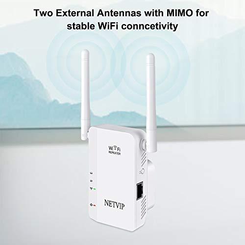 NETVIP WLAN Repeater Verstärker Wireless Repeater Signal WLAN Verstaerker Kompatibel Mit Allen WiFi Geräte 300Mbit/s,2.4GHz,1 Port 2 Betriebs Modi 2 Externer Antennen verstärker