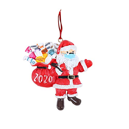 2020 Christmas Ornament 2020 Quarantine_Santa Face Ornaments Santa Christmas Ornament with Face Bandana Christmas Tree Decoration Pendant Keepsake Unique Luxury Ornament for Family (1PCS)