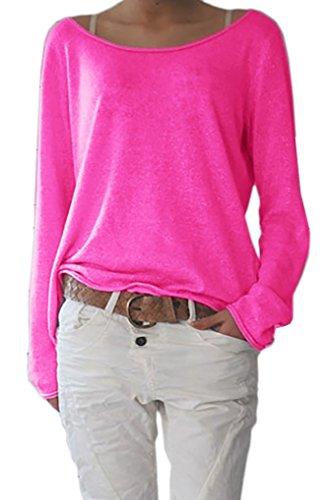 Damen Sexy Rundhalsausschnitt Langarm Lose Bluse Strickpulli Hemd Shirt Oversize Sweatshirt in vielen Trend Farben Tops S/M L/XL (632) (S/M, Neon Rosa)
