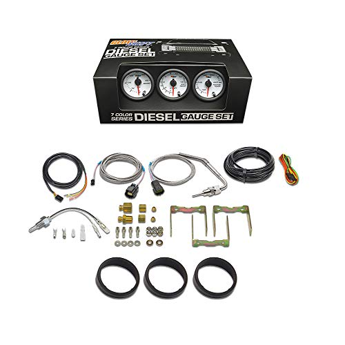 """GlowShift White 7 Color Diesel Truck 3 Gauge Kit Set - 60 PSI Boost - 1500 F Pyrometer Exhaust Gas Temp EGT - Transmission Temperature - White Dial - Clear Lens - 2-1/16"""" 52mm"""