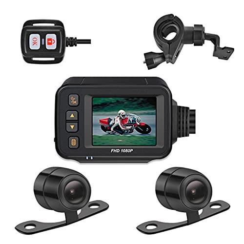 Dual Dash Cam, Mirror Dash Cam Camera Mirror Dash Cam Camera, Schermo da 2,0 Pollici D Dash Cam per Moto Impermeabile e Sicuro a Doppio con registratore Microfono