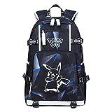Manga Pokemon Rucksack Kinder Teenager Anime Jungen Pikachu Rucksäcke Mädchen Pikachu Schoolbag Schulrucksack Wasserdicht Backpack Wanderrucksack Schultasche Pokemon Daypacks (L-PKQ,OS)